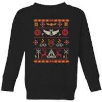 Harry Potter Knit Kids' Christmas Sweatshirt - Black - 11-12 Years - Black