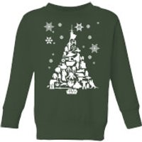 Star Wars Character Christmas Tree Kids' Christmas Sweatshirt - Forest Green - 3-4 Years - Forest Gr