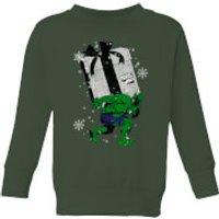 Marvel The Incredible Hulk Christmas Present Kids' Christmas Sweatshirt - Forest Green - 11-12 Years