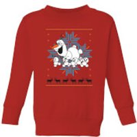 Disney Frozen Olaf and Snowmen Kids' Christmas Sweatshirt - Red - 3-4 Years - Red