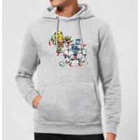 Star Wars Tangled Fairy Lights Droids Christmas Hoodie - Grey - M - Grey
