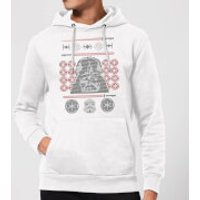 Star Wars Darth Vader Face Knit Christmas Hoodie - White - L - White