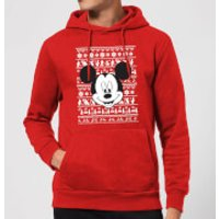 Disney Mickey Face Christmas Hoodie - Red - L - Red