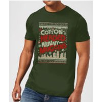 Elf Cotton-Headed-Ninny-Muggins Knit Mens Christmas T-Shirt - Forest Green - XXL - Forest Green