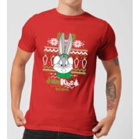 Looney Tunes Bugs Bunny Knit Men's Christmas T-Shirt - Red - S - Red