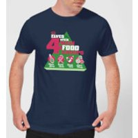 Elf Food Groups Mens Christmas T-Shirt - Navy - S - Navy