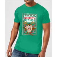 Looney Tunes Tasmanian Devil Knit Men's Christmas T-Shirt - Kelly Green - XXL - Kelly Green