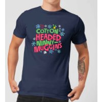Elf Cotton-Headed Ninny-Muggins Mens Christmas T-Shirt - Navy - XL - Navy