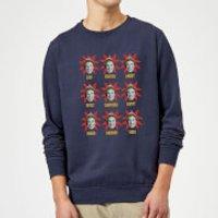 Elf Faces Christmas Sweatshirt - Navy - M - Navy