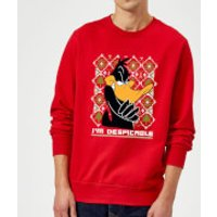 Looney Tunes Daffy Duck Knit Christmas Sweatshirt - Red - XXL - Red - Duck Gifts