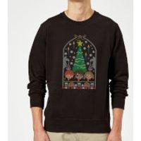 Harry Potter Hogwarts Tree Christmas Sweatshirt - Black - S - Black