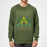 DC Aquaman Knit Christmas Sweatshirt - Forest Green - S - Forest Green
