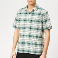 AMI Men's Camp Collar Pocket Check Shirt - Green/Off White - XL - Green