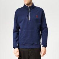 AMI Men's Heart Embroidered Zip Sweatshirt - Navy - M - Blue