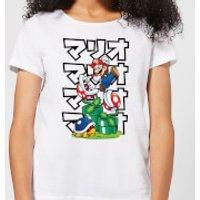 Nintendo Super Mario Piranha Plant Japanese Women's T-Shirt - White - XXL - White