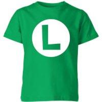 Nintendo Super Mario Luigi Logo Kid's T-Shirt - Kelly Green - 11-12 Years - Kelly Green - Mario Gifts