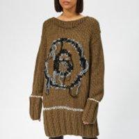 mm6-maison-margiela-womens-hand-knitted-jumper-dress-khaki-m-green