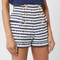 Balmain Women's High Waisted Shorts with Signature Stripe - Blue - FR 40/UK 12 - Blue