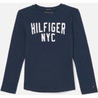 Tommy Hilfiger Boys Essential Logo Long Sleeve T-Shirt - Black Iris - 7 Years - Blue