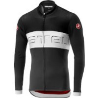 Castelli Prologo VI Long Sleeve Jersey - M - Black/Ivory/Dark Grey