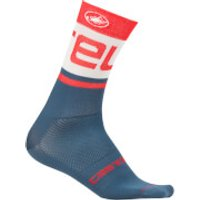 Castelli Free Kit 13 Socks - S-M - Light Steel Blue/Red