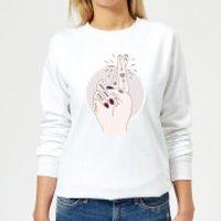 Barlena Fingers Crossed Women's Sweatshirt - White - XS - White