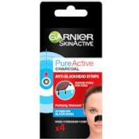 Tiras antipuntos negros para la nariz Pure Active Charcoal de Garnier - 4 unidades