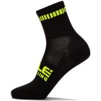 Ale Logo Q-Skin Socks - S - Black/Fluo Yellow