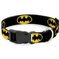 Buckle-Down DC Comics Batman Shield Plastic Clip Dog Collar (Various Sizes) - L/15-26 Inches - Pets Gifts