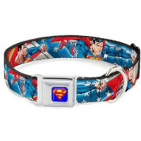 Buckle-Down DC Comics Superman Action Dog Collar - Blue/Stars and Stripes (Various Sizes) - L/15-26 Inches - Pets Gifts