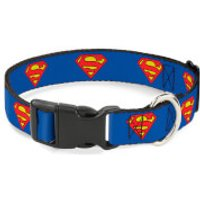 Buckle-Down DC Comics Superman Plastic Clip Dog Collar - Blue (Various Sizes) - L/15-26 Inches - Pets Gifts