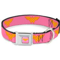 Buckle-Down DC Comics Wonder Woman Dog Collar - Pink (Various Sizes) - L/18-32 Inches - Pets Gifts