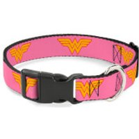 Buckle-Down DC Comics Wonder Woman Logo Plastic Clip Dog Collar - Pink (Various Sizes) - L/15-26 Inches - Pets Gifts