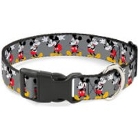 Buckle-Down Mickey Mouse Glasses Plastic Clip Dog Collar (Various Sizes) - L/15-26 Inches - Pets Gifts