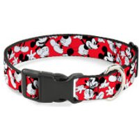 Buckle-Down Mickey Mouse Scattered Plastic Clip Dog Collar (Various Sizes) - L/15-26 Inches - Pets Gifts