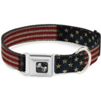 Buckle-Down Vintage US Flag Stretch BoneSeatbelt Dog Collar (Various Sizes) - M/11-17 Inches - Pets Gifts
