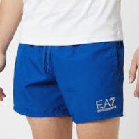 Emporio Armani EA7 Men's Sea World Core Boxer Swim Shorts - Surf the Web - 52 Inch/XL - Blue