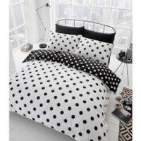 Catherine Lansfield Polka Dot Easy Care Duvet Set - Black/White - Single - Black/White