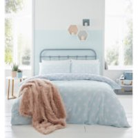 Catherine Lansfield Polka Dot Easy Care Duvet Set - Duck Egg - Double - Blue