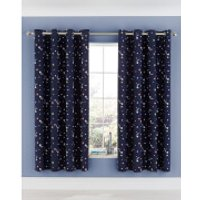 Catherine Lansfield Happy Space Easy Care Curtains - Navy 66 x 72