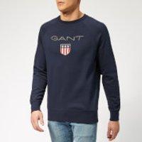 GANT Mens GANT Shield C-Neck Sweat - Evening Blue - L - Blue