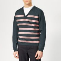 Lanvin Men's Striped V Neck Jumper - Dark Blue - L - Blue