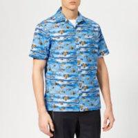 Lanvin Men's Shark Print Open Collar Bowling Shirt - Blue - EU 39/15.5  - Blue
