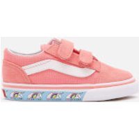 Vans Toddlers' Unicorn Old Skool Velcro Trainers - Strawberry Pink/True White - UK 2 Toddler