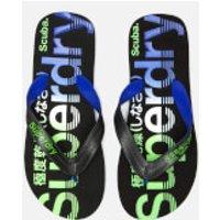 44f4166758ee7c Superdry Men s Scuba Faded Logo Flip Flops - Black Cobalt Fluro Green - S