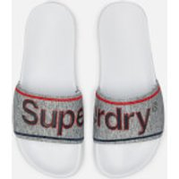 Superdry Men's College Pool Slide Sandals - Optic White/Grey Grit/Red - L/UK 10-11 - Grey