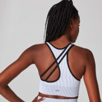 MP Contrast Rib Seamless Sports Bra - White/Black - XL