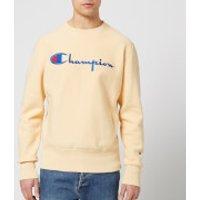 Champion Men's Crew Neck Script Sweatshirt - Beige - S - Beige
