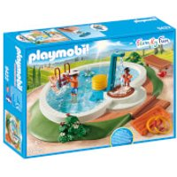 Playmobil Family Fun Swimming Pool with Functioning Shower and Floating Raft (9422)