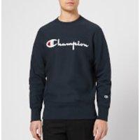 Champion Men's Crew Neck Script Sweatshirt - Navy - L